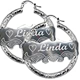 "Custom Personalized Silver Hoop Name Bamboo Earrings 1.6"" Made with Any Names"