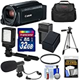 Canon Vixia HF R800 1080p HD Video Camera Camcorder (Black) 32GB Card + Battery & Charger + Case + Filter + Tripod + LED Light + Microphone Kit