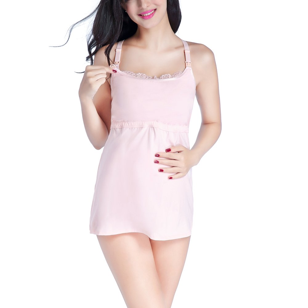Arshiner Women's Empire Waist Nursing Cami with Lace Back,Pink,X-Large