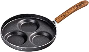 Egg Frying Pan,3/4 Cup Egg Cooker Frying Pan Non-stick Aluminum Alloy Multi Egg Pan Frying Pot with Skid Resistant Long Handle, Suitable For Gas Cooker