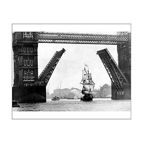 Media Storehouse 10x8 Print of The Golden Hind at Tower Bridge (Golden Hind Replica)