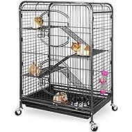 "ZENY 37"" Ferret Cage Rabbit Guinea Pig Chinchilla Small Animal House 4 Levels (Black)"
