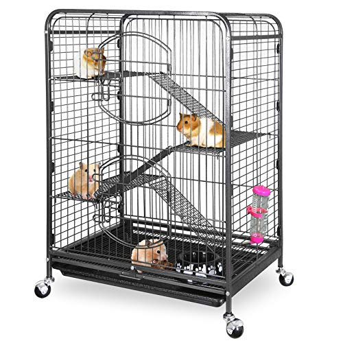 "ZENY 37"" Ferret Cage Rabbit Guinea Pig Chinchilla Rat Small Animal House 4 Levels (Black)"
