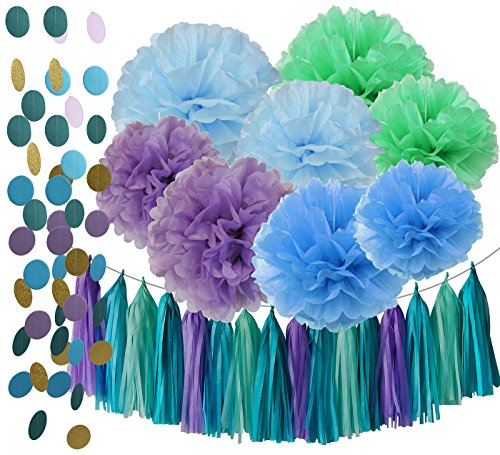 Under the Sea Party/Mermaid Party Decorations Teal Purple Blue Mint Baby Shower Decorations Tissue Pom Poms First Birthday Decorations Purple Bridal Shower Decorations Mermaid Party (Purple And Teal Baby Shower Decorations)