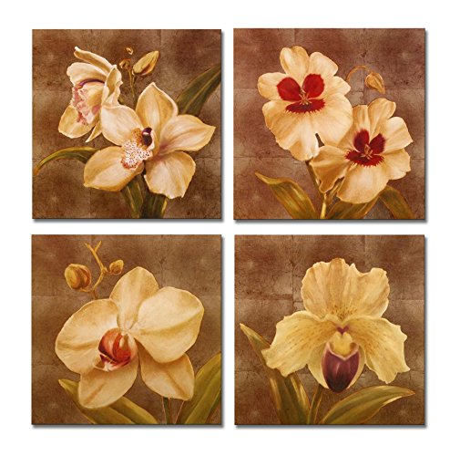 SpecialArt - Series Paintings Wall Art - Orchid Flowers Blooming painting - 4 Panels Picture Print on Canvas for Modern Home Decor