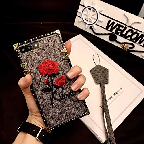Twinlight for iPhone Xs Max X XR Case Embroidery Rose Square Trunk Women Straps Phone Cases for iPhone 8 7 Plus Rose Case Cover (Gray, for iPhone Xs Max)