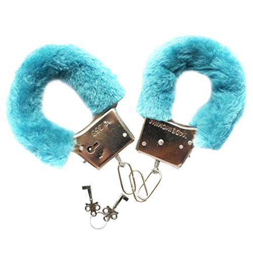 Freebily Furry Fuzzy Handcuffs Soft Metal Adult Sex Night Party Game Gag Gift Blue One Size