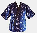 L size, Sushi Chef Jacket Japanese Chef Uniform with Black Headband (Small Bamboo On Blue)