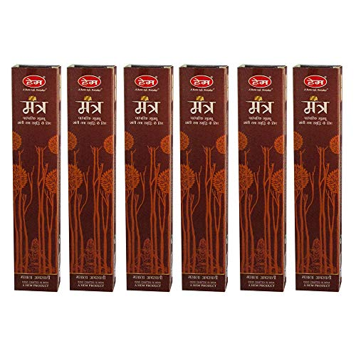 HEM Mantra Incense Agarbatti Pack of 6 Incense Sticks Boxes, 15gms Each, Hand Rolled in India Fresh, Pure and Long Lasting Fragrance for Relaxation, Anxiety and Stress Relief, Calmness, Air Freshness (Best Incense For Anxiety)