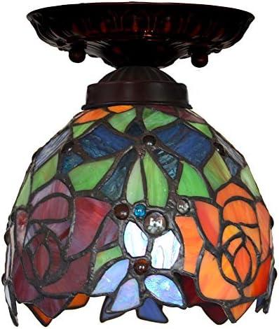 Ceiling Light Dragonfly Glass 7 Inch Rose Flower Shade Tiffany Ceiling Light Balcony Light Corridor Light