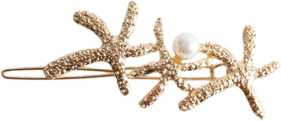 Lifet Shell Ocean Hair Clip Style Glitter Metallic Starfish Hair Clip Girls Hair Pin Beads Hair Clips Ladies Jewellery Hair Jewellery Gold Silver Silver