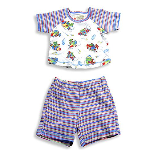 (Pepper Toes Layette by Baby Lulu - Baby Boys Short Sleeve Short Set, White, Blue, Red 17033-3Months)