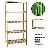 Kinbor Bamboo Rack Multifunctional Bathroom Kitchen Living Room Holder Plant Flower Stand Utility Storage Shelf (5-Tier)