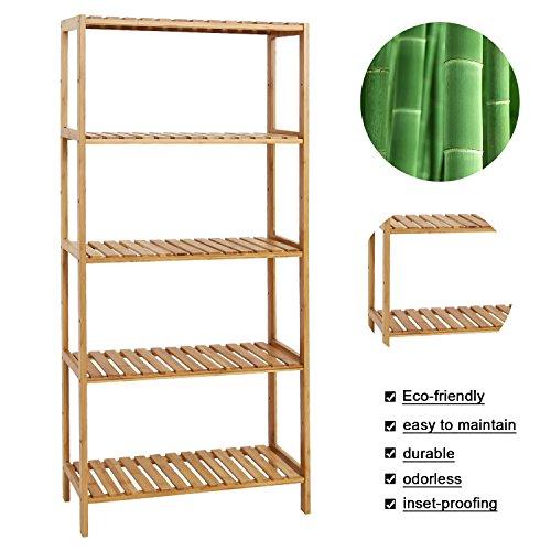 Kinbor Bamboo Rack Multifunctional Bathroom Kitchen Living Room Holder Plant Flower Stand Utility Storage Shelf (5-Tier) by Kinbor