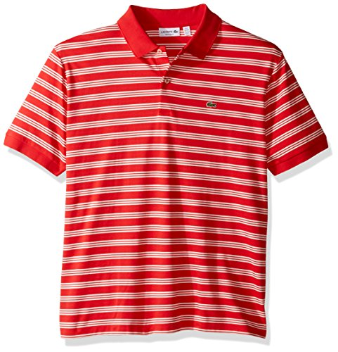 Lacoste Men's Short Sleeve Jersey Stripe Regular Fit Woven Shirt, DH2017, Grenadine/Flour, L