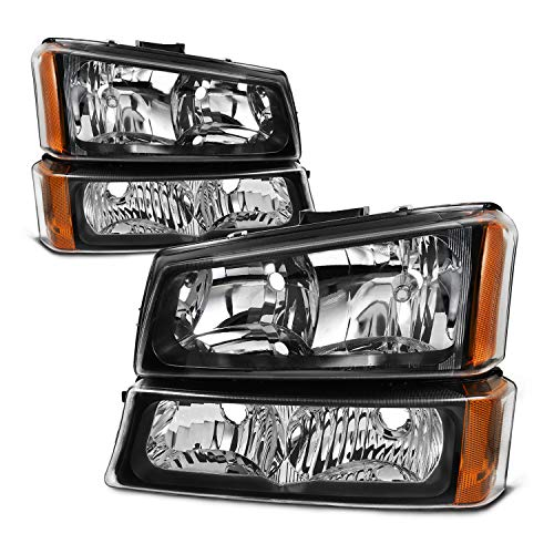 For 2003-2006 Chevy Silverado Avalanche Black Bezel Headlights w/Bumper Lamp Driver+Passenger Head Lights Pair