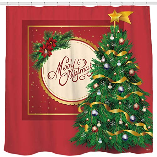 Red Background 3D Christmas Tree Shower Curtain Bathroom Home Office Holiday Wall Decoration as Tapestry and Photo Booth Backdrop