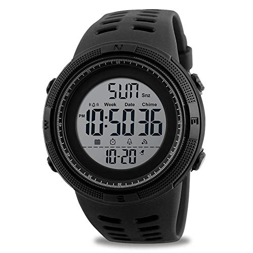 Mens Digital Sport Watch, Military Waterproof Watches Fashion Army Electronic Casual Wristwatch with Luminous Calendar Stopwatch Alarm LED