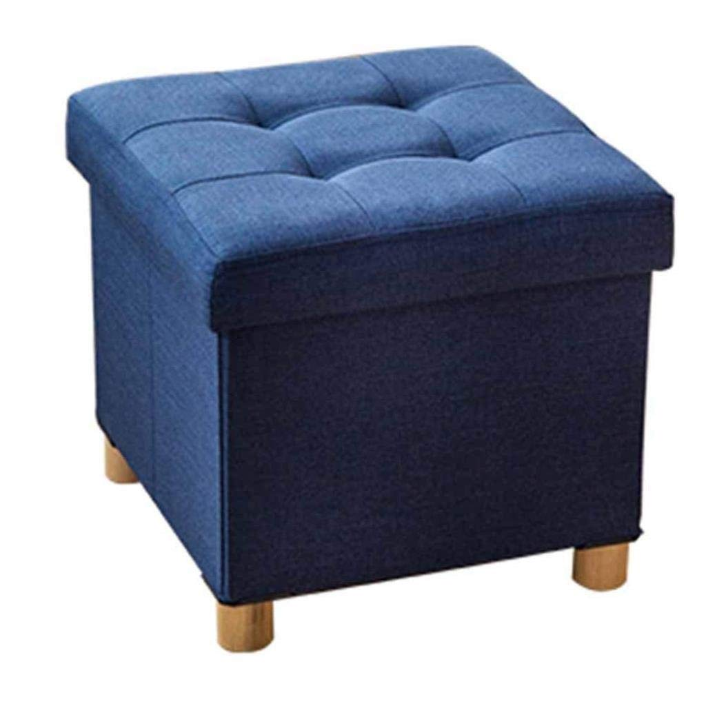 RDMZ Footstool Linen Square Stools Ottoman Chair Stool Upholstered Multifunction with Removable Cover (Color : Blue)