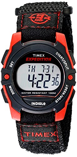 Timex Unisex T49956 Expedition Mid-Size Digital CAT Black/Red Fast Wrap Velcro Watch