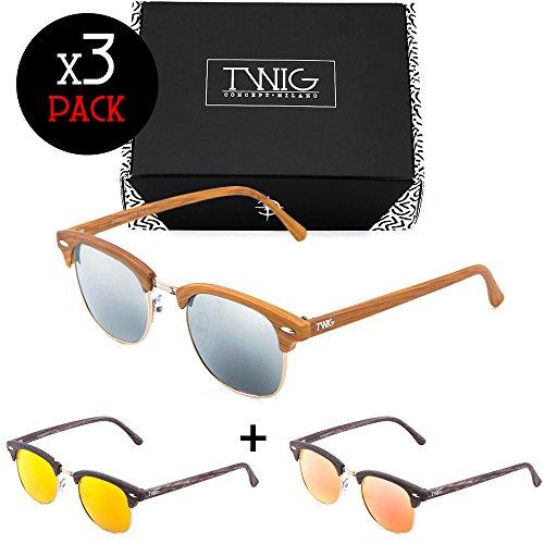 MASTER de Tres Extreme mujer hombre estilo madera Pack gafas sol TWIG aP61WR6
