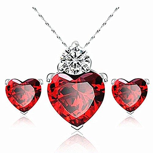 Vi.yo Women,Girls Elegant Pearl Heart Gemstone Earrings Necklace Two-Piece Bridal Jewelry Wedding Gifts(red)