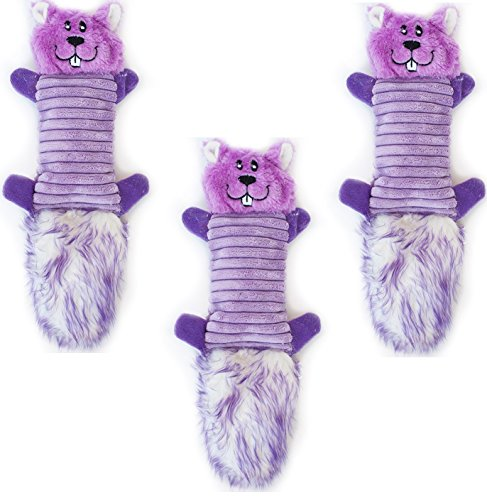 ZippyPaws Zingy 3-Squeaker No Stuffing Plush Dog Toy, Purple Chipmunk (3 Pack) Review