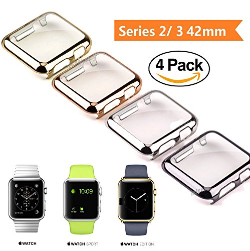 E-universal [4-PACK]Apple Watch Case Series 3, Scratch-resistant Lightweight Plated Full Body Protective Case for iWatch Series 3, Series 2, series 1 (4PACK 42mm) by E-Universal