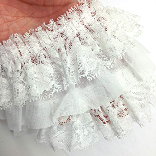 White Yalulu 5 Yards Nylon Pearl Beaded Embroidered Lace Trim Ribbon Fabric Handmade DIY Costume Dress Sewing Supplies Craft
