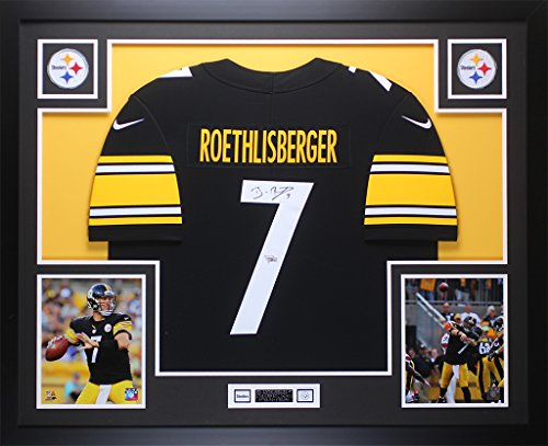 Ben Roethlisberger Autographed Black Nike Steelers Jersey - Beautifully Matted and Framed - Hand Signed By Ben Roethlisberger and Certified Authentic by Auto Fanatics COA - Includes COA ()
