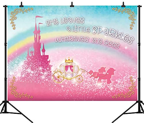 DePhoto 7X5FT(210X150CM) Princess Castle Theme Birthday Party Seamless Vinyl Photography Backdrop Photo Background Studio Prop PGT359A