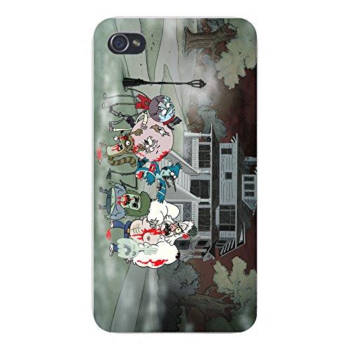"Apple iPhone Custom Case 4 4S White Plastic Snap On - ""Regular Zombies"" Funny Cartoon Show Parody"