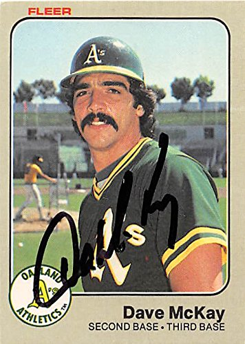 Dave McKay autographed baseball card (Oakland Athletics) 1983 Fleer #526