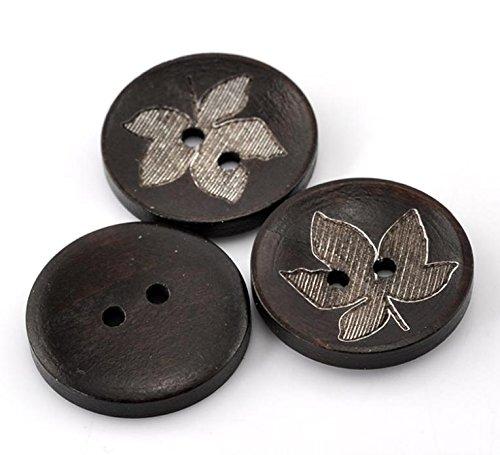 - 50 Pieces Dark Coffee Leaf Round Flower Pattern Wooden Sewing Buttons 25mm(1