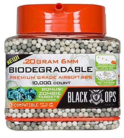 Black Ops Biodegradable Airsoft BB's, 10,000 Count 20g, 6mm