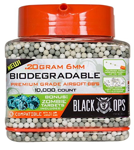 Black Ops .20 g Biodegradable Airsoft BBs - 10,000 Triple Polished Competition Grade 6mm BBs - Resealable - For All Airsoft Guns Pistols Rifles AEGs