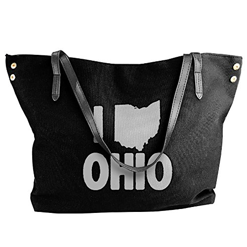 Handbag Large Canvas Hand Tote I Women's Shoulder Black Ohio Love Bag wqITx5B1g