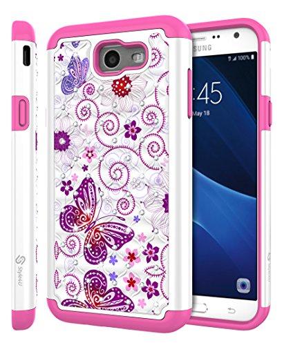 Galaxy J7 V Case, Galaxy J7 Perx / J7 Sky Pro / J7 Prime / Halo / J7 2017 Case, Style4U [Shockproof] Butterfly Studded Rhinestone Crystal Bling Hybrid Armor Protective Case+1 Stylus [White / Hot Pink]