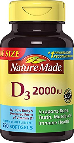 Nature Made Vitamin D3 2000 IU, Value Size 1 Pack .250 Softgels Ks3SA Nature-Ta by Nature Made