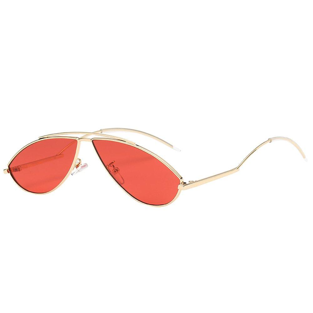 YEZIJIN Womens Man Cat Eye Irregular Oval Rapper Sunglasses Vintage Retro Eyewear Unisex
