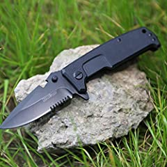 Hurricane G10 Tactical Folding Knife, EDC knife, with Glass Breaker, Ball Bearing Pivot System,One Hand Operation Flip Open 8Cr15MoV Stainless Steel Blade, with Liner Lock, Pocket Clip, Black 1. G-10 handle provides excellent grip while wet o...