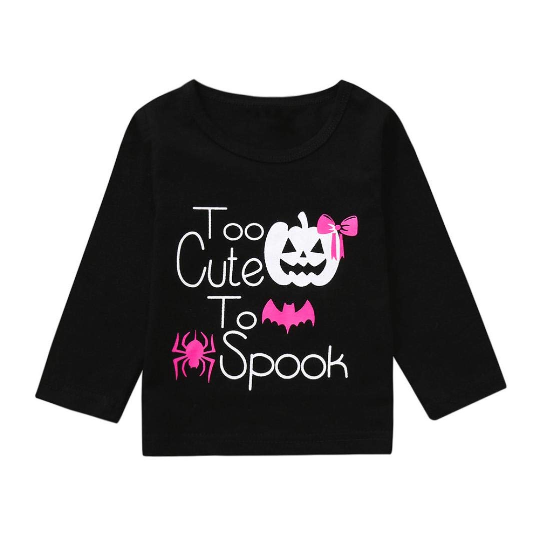 Wenini Baby Girls Clothes Halloween Long Sleeve Cartoon Letter Top Tshirt Clothes