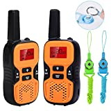 Waitiee Durable kids Walkie Talkies for children 22 Channel 2 mile Handheld Portable 2 Way Radio Toy christmas Gifts Outdoor Camping Hiking (Orange 1 Pair)