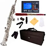Mendini by Cecilio MSS-N+92D Nickel Plated Straight B Flat Soprano Saxophone with Tuner, Case, Mouthpiece, 10 Reeds and More