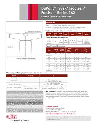 DuPont Tyvek IsoClean IC262S Frock with Snap Closure and Elastic Cuff, White, Large (Pack of 30) by IsoClean (Image #1)