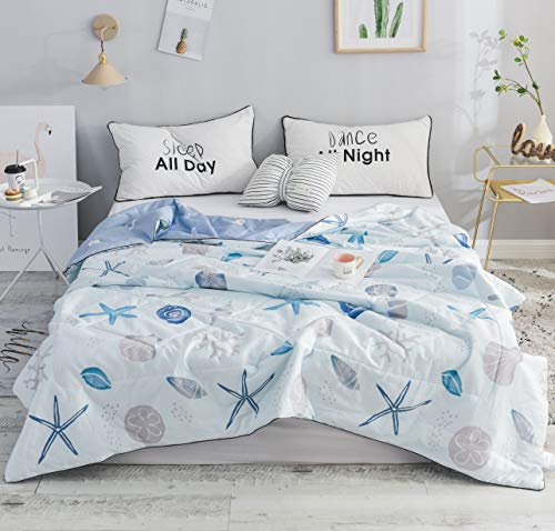 FADFAY Summer Quilt Queen Nautical Bedding Coastal Theme Thin Quilt Summer Lightweight Comforter Light Blue 100% Cotton Super Soft Reversible 1 Piece,Full/Queen Size (Coastal Bedding Life)