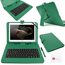 "DURAGADGET Spanish (ES) QWERTY Keyboard 10"" Case with Micro USB Connection in Green - Compatible with the NEW Huawei MediaPad M2 10 Tablet"
