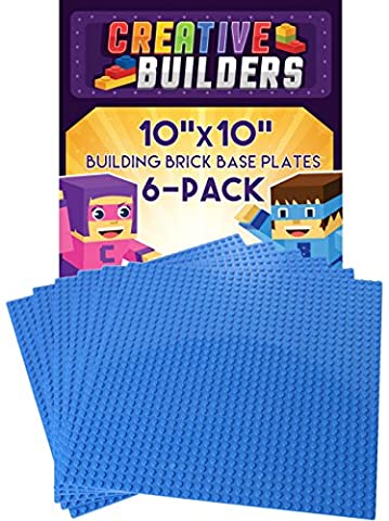 Creative Builders, Set of 6 Blue Baseplates, Extra Large 10X10 inch, LEGO compatible - Oversize Light Switchplates