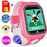 [SIM Card Included] Kids Smart Watch Phone for Girls Boys, Waterproof IP68 GPS Locator SOS Wrist Smartwatch Sport Watch Game Camera Anti-Lost Alarm Clock Learning Toys Swim Run Outdoor (Pink)