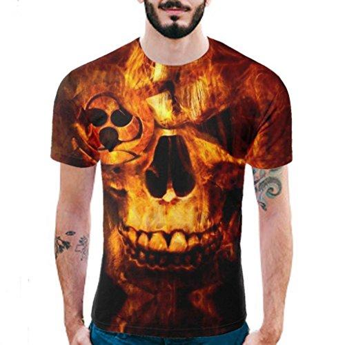Ecru Print (iOPQO T-Shirt for Mens, Casual 3Dskull Print Short Sleeve Shirt Tank Tops Blouse)